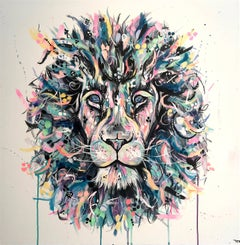Lion original abstract animal  painting