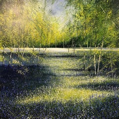 Shadows and light at Bluebells Forest original landscape painting