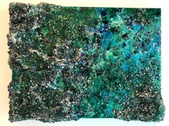 The earth XXXV-3 abstract textured mixed media landscape painting