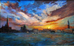 Sun Sinks behind the venice Original city  landscape painting