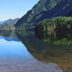 Hidden Original mountain Lake landscape painting
