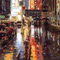 Neon Reflections, NY original City landscape painting