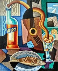Aperol original still life cubism painting