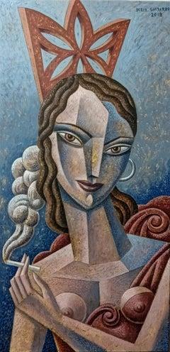Fumando espero original cubism painting