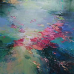 Out of your depth  II abstract floral landscape painting