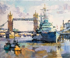 Tower Bridge, HMS Belfast,  London abstract city landscape painting