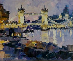 Tower Bridge,  London abstract city landscape painting