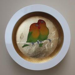 A pair of  Love Birds original  painting