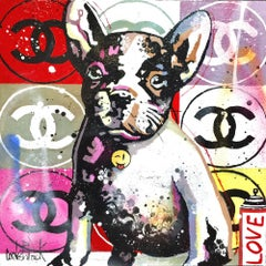 Pop Bulldog Chanel, red version original pop art  painting