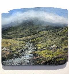 Happy mountains original lansdscape painting on slate