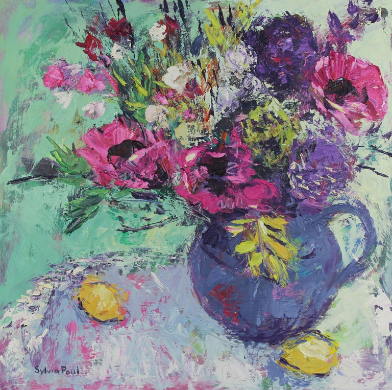 Sylvia Paul Abstract Painting - Pink Garden Poppies original still life painting