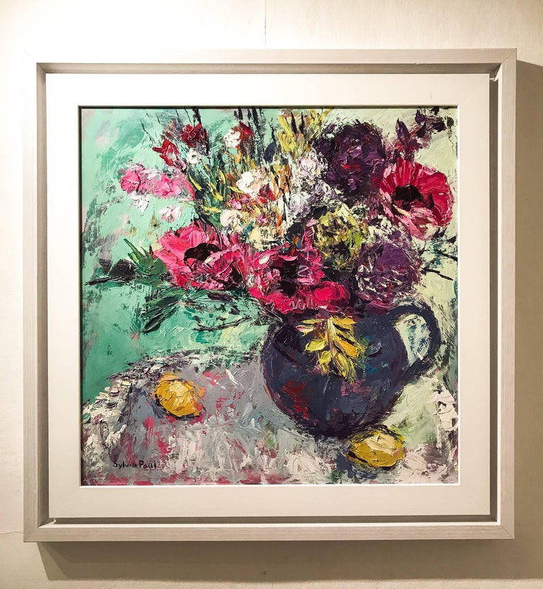 Pink Garden Poppies original still life painting - Painting by Sylvia Paul