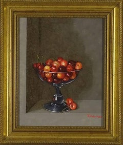 Cherries in a glass still life painting
