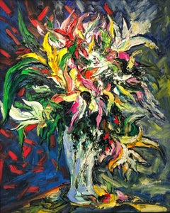 Bouquet de Lilies II abstract still life painting