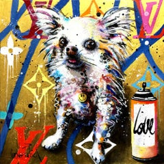 Luxury Chihuahua, gold version original pop art  painting