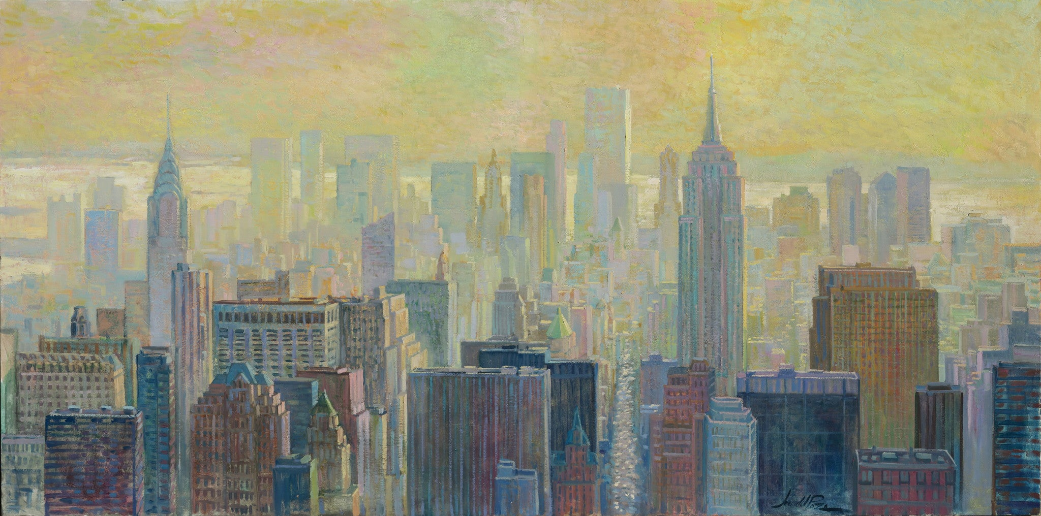 ee049e880ab2 Afternoon in New York original Panorama city landscape painting