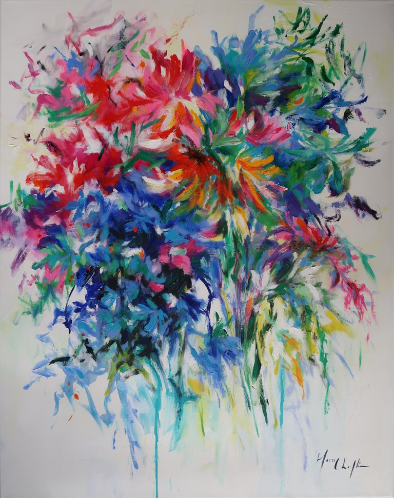 Mary Chaplin Abstract Painting - Bouquet with Crown Imperial Lily abstract floral landscape painting
