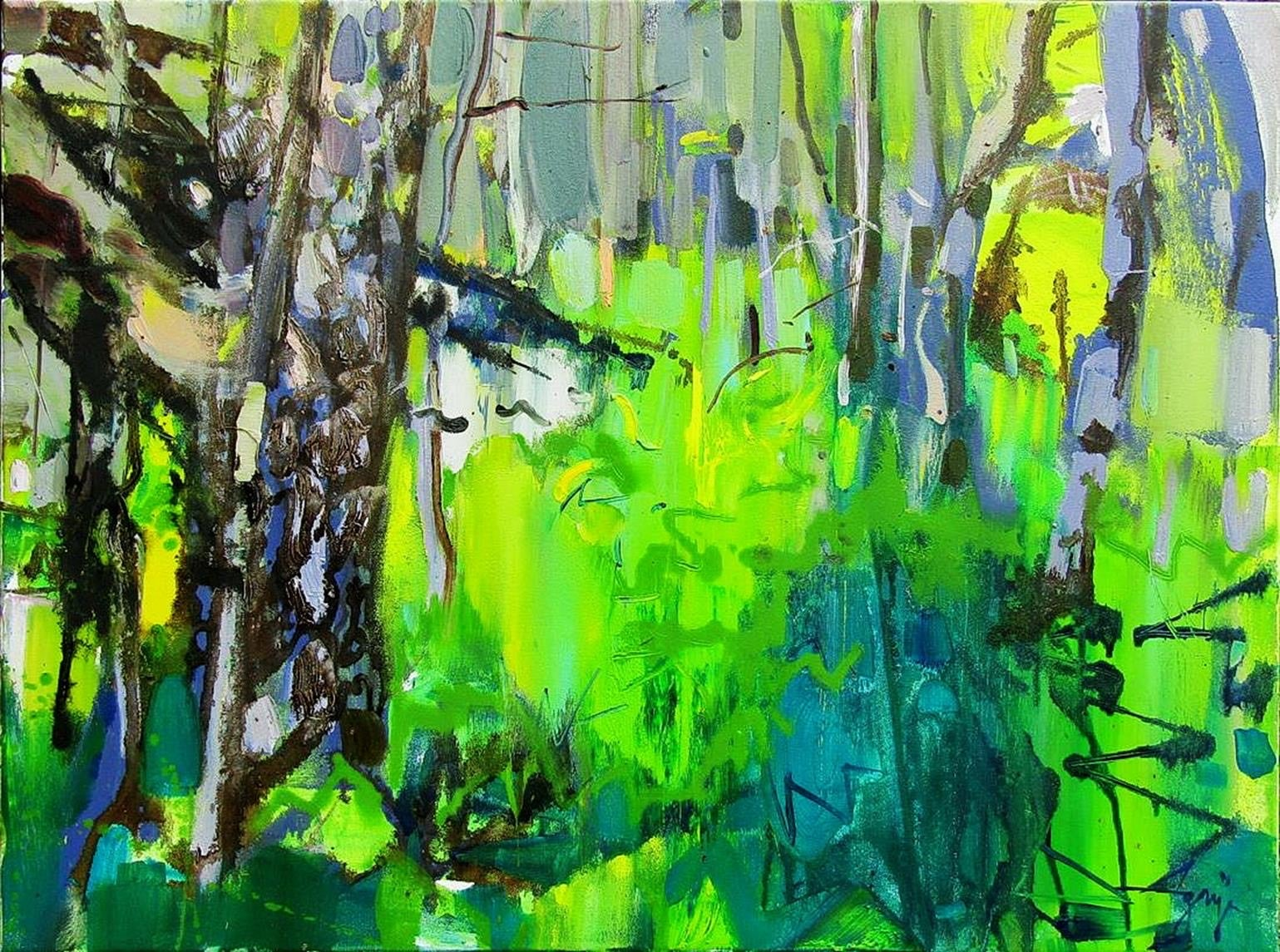 Forest Pond - abstract oil painting modern contemporary art 21st century