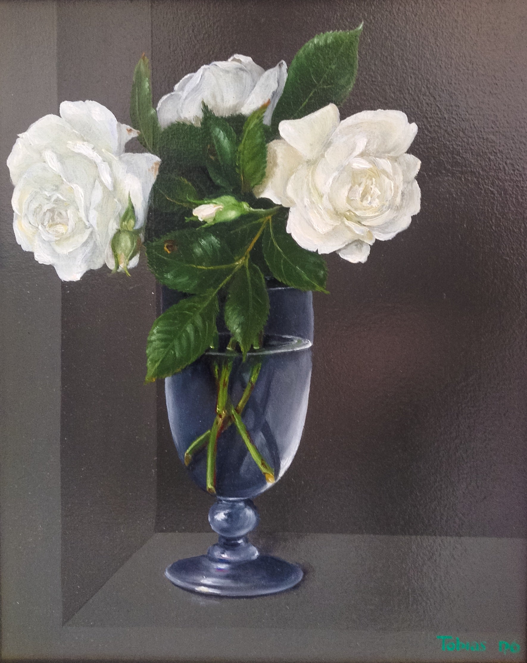 White Roses in a Glass - still life oil painting realism contemporary art