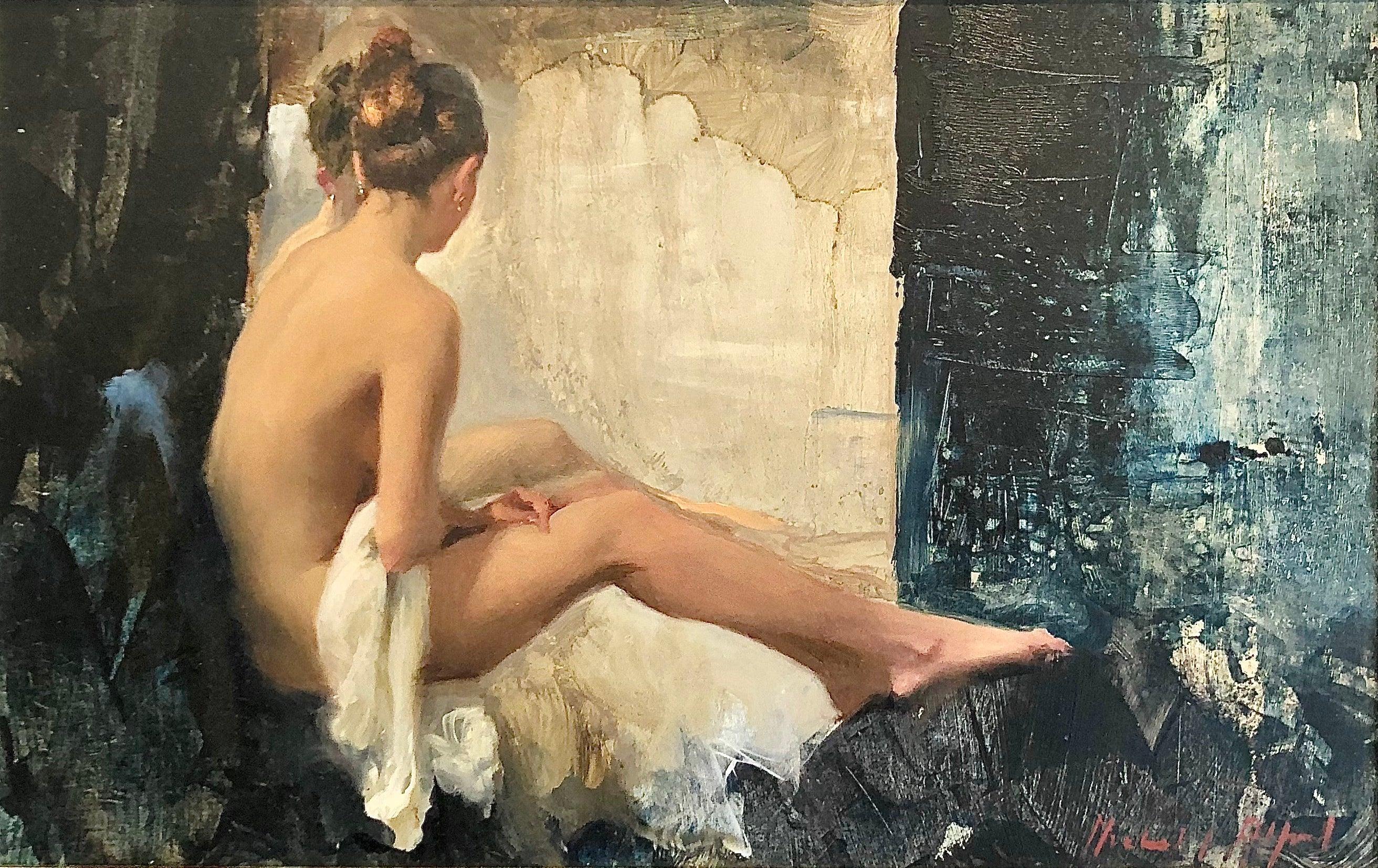 Nude, White Linen - original figurative female oil painting art 21st C