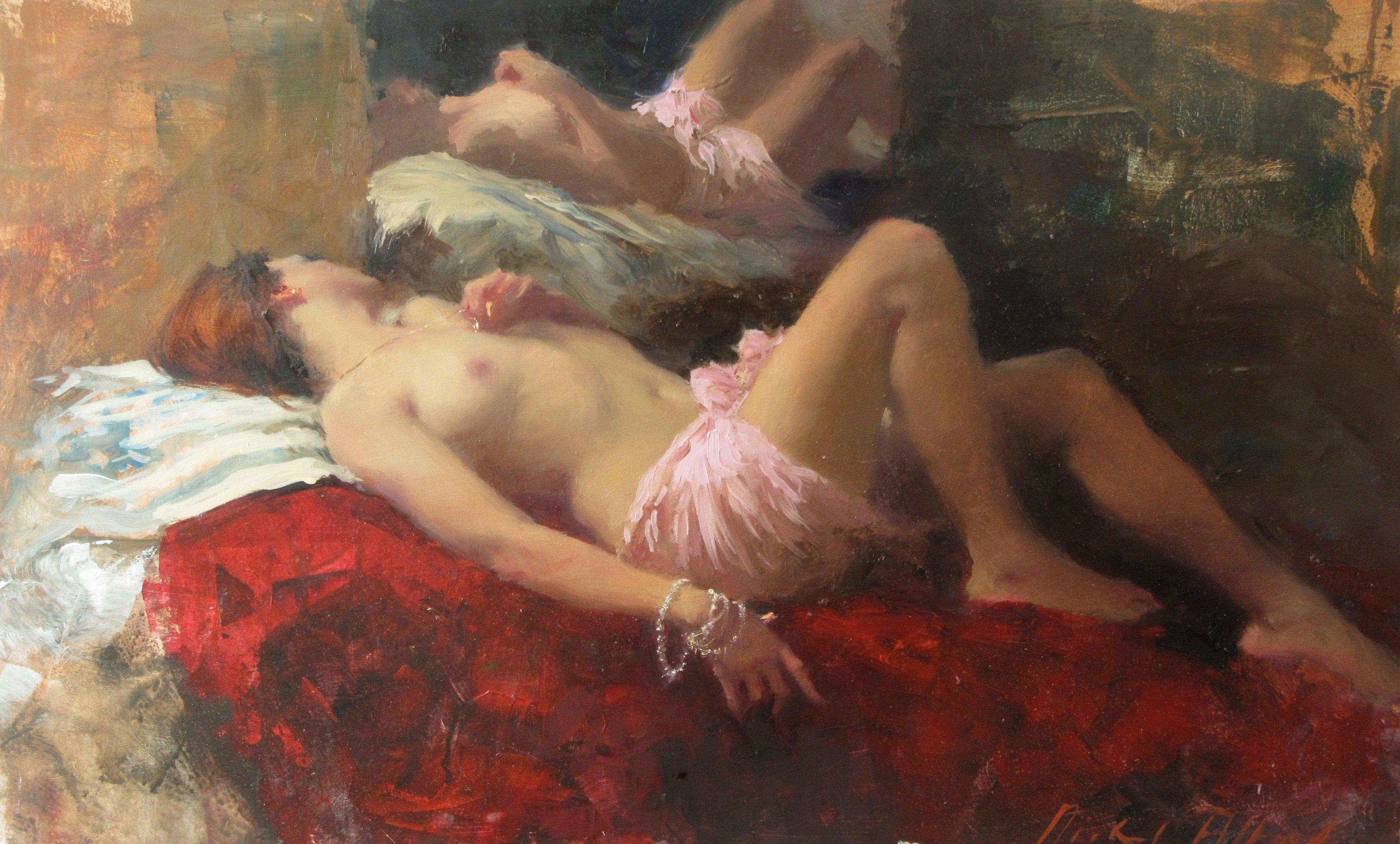 Sleeping Nude, Rose & Crimson - modern figurative painting Contemporary Art