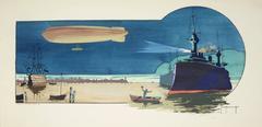 Gamy-Montaut, Zeppelin Night Scene with Battleships, coloured pochoir print