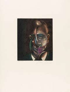 Francis Bacon, Portrait of Michel Leiris, Lithograph in colour, 1990, signed