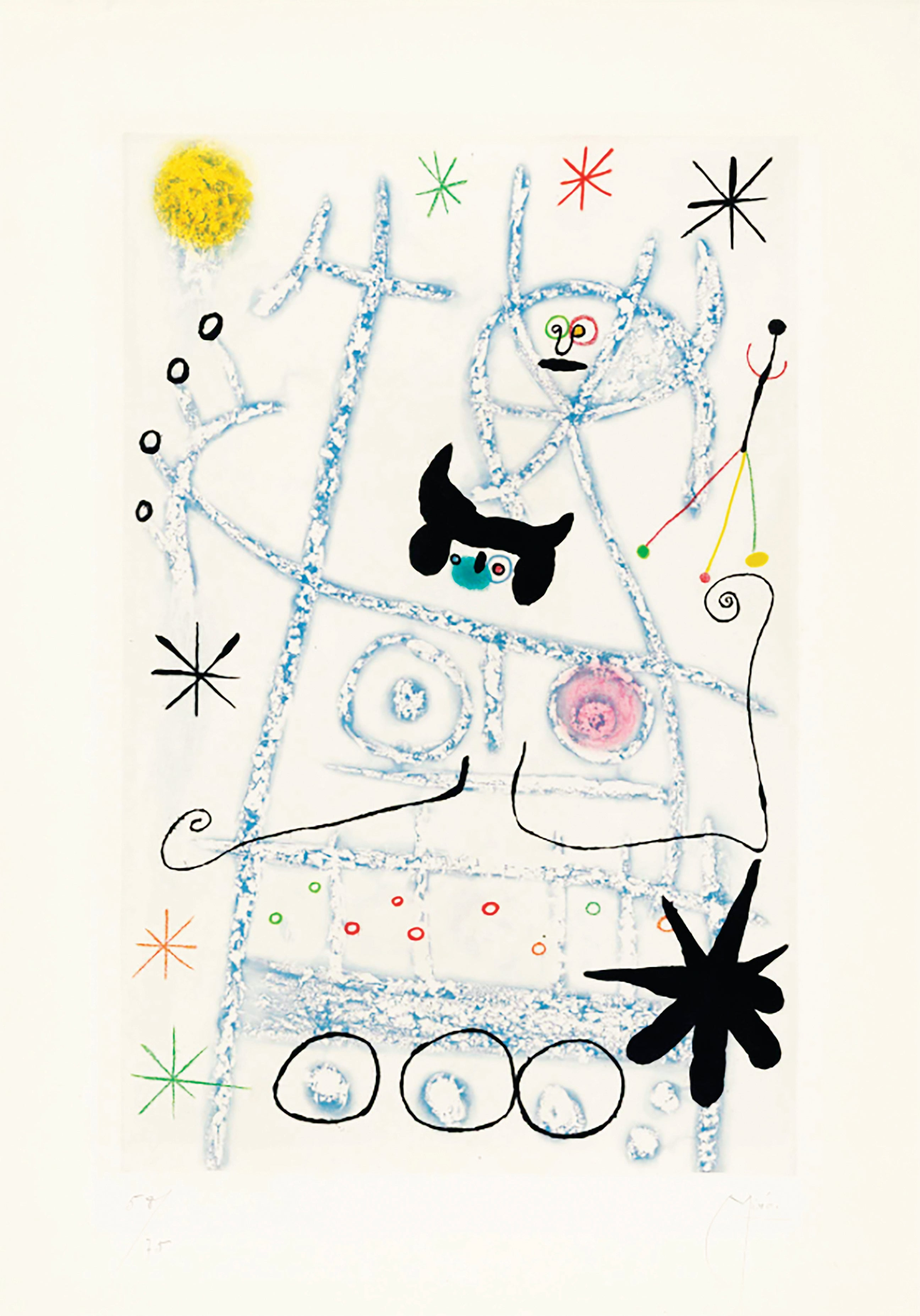 Joan Miro, Les Forestiers (bleu), aquatint printed in colours, 1958, signed