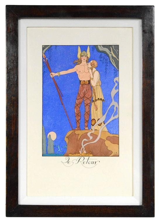 George barbier le retour print for sale at 1stdibs for Pochoir prints for sale