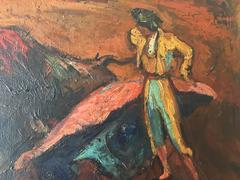 """PERE CREIXAMS - ORIGINAL OIL CANVAS - """" TORO Y TORERO"""" 1905"""