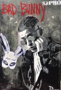 "JUAN MANUEL PAJARES - BAD BUNNY - ORIGINAL MIXED MEDIA - "" BUNNY "" 2018"
