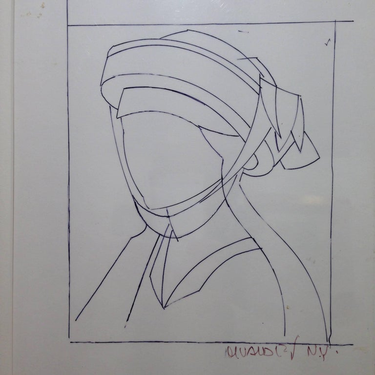 Artwork by the Spanish artist Manolo Valdes Drawing on metrakilate. Signed lower right Certificate  BLASCO VALDES Manolo (Valencia, 1942).  Member of Equipo Crónica, Manolo Valdés has been awarded the Lissone and Biella Milan awards, silver medal of