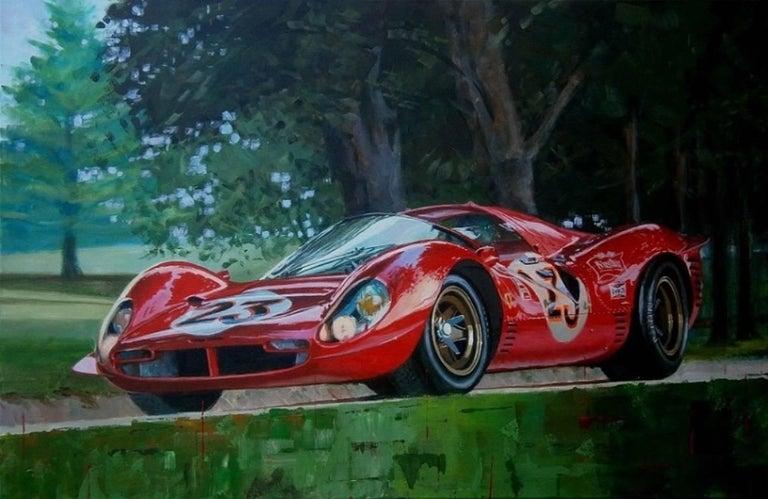 """alex balaguer - """" ferrari 330 p4 """" original acrylic painting"""
