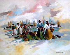"BENAVENTE SOLIS - ORIGINAL OIL CANVAS - ""MARISCADORAS ""2008"