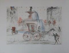 """SALVADOR DALI - ORIGINAL LITHOGRAPY- """" New-York City : Plaza"""""""