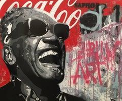 """SHOW"" original street art mixed media painting"