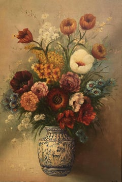 """FLOWERS"" 1950- Juan Lara-Original- oil canvas-still life"