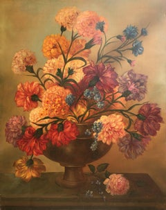 """ FLOWER VASE""-Juan Lara- Original- oil canvas--still life"