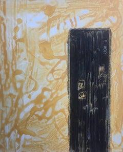 """black on yellow"" Ruz- Original- Acrylic on canvas."