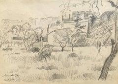"""SANT JUST""""-ORIGINAL DRAWING - """" 1970-BARCELONA landscape"""