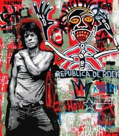RUPUBLICA ROCK- original street art mixed media canvas painting