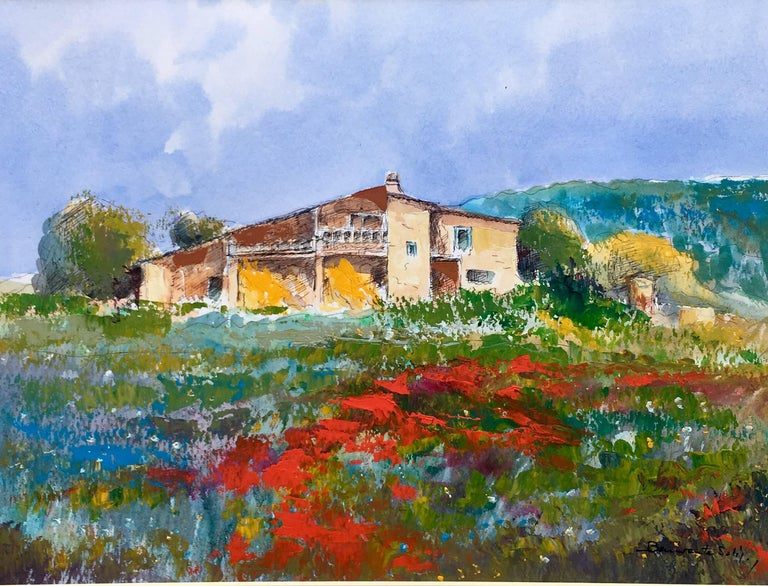 Benavente Solis Figurative Painting - home. field. poppies. original