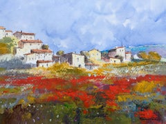 village. field. poppies. original