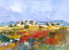 BENAVENTE SOLIS - ORIGINAL WATERCOLOR - PAPER- FIELD OF POPPIES