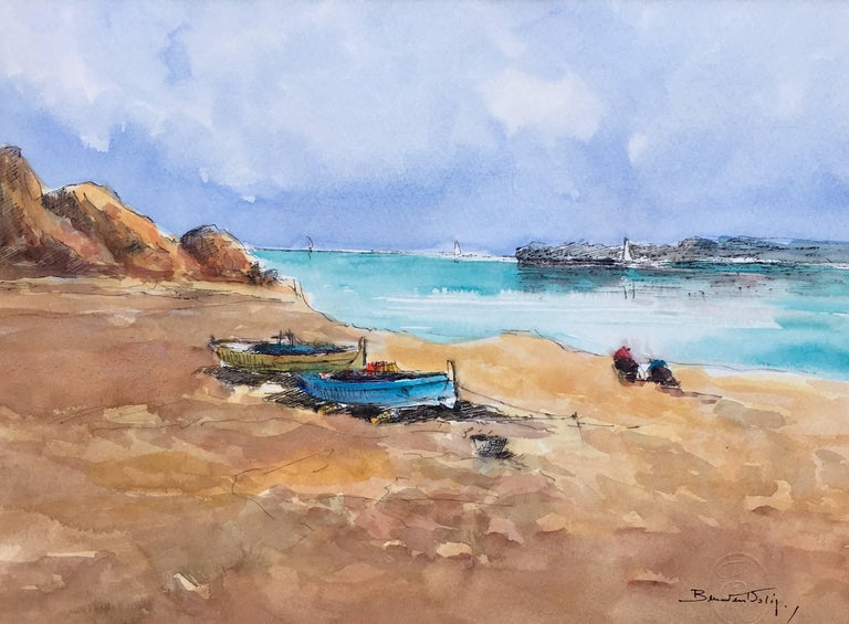Beach. sea  Mallorca- original expressionist watercolor painting - Painting by Benavente Solis
