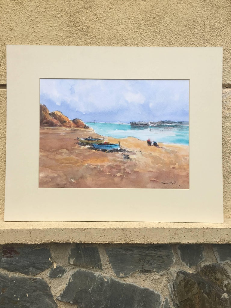 Beach. sea  Mallorca- original expressionist watercolor painting - Abstract Painting by Benavente Solis