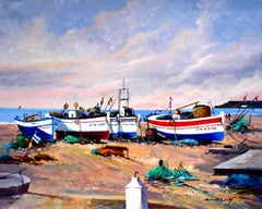 Boats in the sand original expressionist acrylic painting