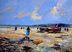 Fishermen at the beach original expressionis acrylic painting