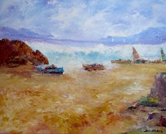 "BENAVENTE SOLIS - ORIGINAL OIL WOOD - "" MARINA ""-STORM AT THE BEACH"