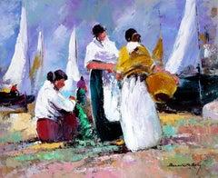 fishermen arranging the nets original expressionist acrylic painting